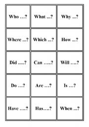 English Worksheets: Question starter word cards