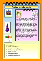 English Worksheet: Maria�s birthday party