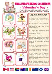English Worksheet: ENGLISH-SPEAKING COUNTRIES (20) - Valentine�s Day