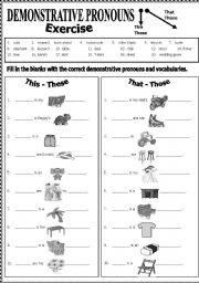 spanish demonstrative adjectives and pronouns worksheets pdf