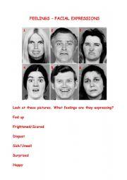 English Worksheet: Facial Expressions - Feelings
