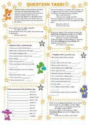English Worksheets: QUESTION TAGS (with key)