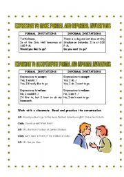 English Worksheet: Expressions to make formal and informal invitations