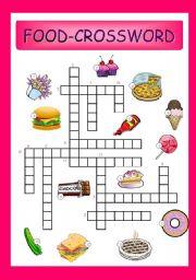 English Worksheet: food-crossword