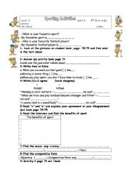 English Worksheet: SPORTING ACTIVITIES PART 2
