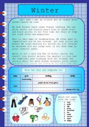 English Worksheet: Winter sports (editable with key)