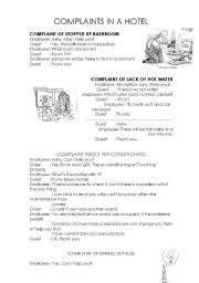 English Worksheet: COMPLAINTS AND REQUEST IN A HOTEL