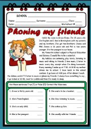 English Worksheets: PHONING MY FRIENDS ( 2 PAGES )