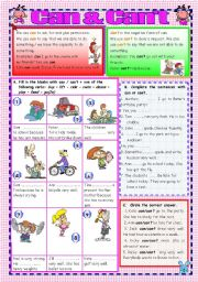 English Worksheet: CAN - CAN`T (B&W version & Key included) -FULLY EDITABLE