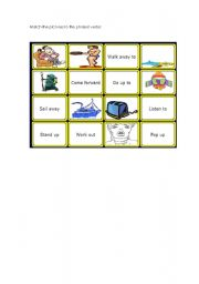 English Worksheet: Phrasal verbs Memory Game part 2