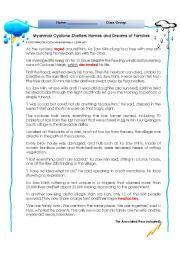 English Worksheets: A natural disaster