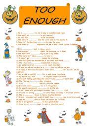 English Worksheet: too-enough