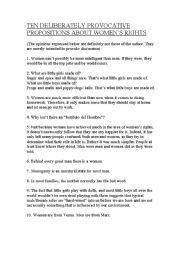 English Worksheet: TEN DELIBERATELY PROVOCATIVE PROPOSITIONS ON WOMEN´S RIGHTS