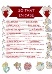 English Worksheets: so that-in case