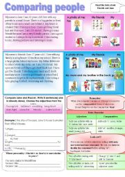 English Worksheets: comparing people ( elementary)