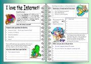 English Worksheets: Four Skills Worksheet - I love the Internet!