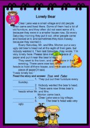 English Worksheets: Lonely Bear