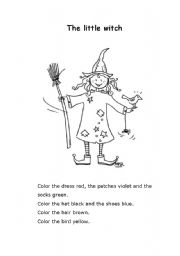 English Worksheets: English for kids - The little witch