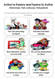 English Worksheet: Active - Passive  game (past tenses) - part 1