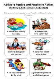 English Worksheet: Active - Passive game (past tenses) - part 2
