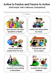 English Worksheet: Active - passive game (past tenses) - part 3