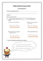 English Worksheets: Peer Evaluation