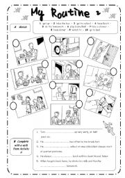 English Worksheet: PRESENT SIMPLE - ROUTINE 2 - B&W