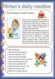 English Worksheets: Brian�s Daily Routine - 3 pages