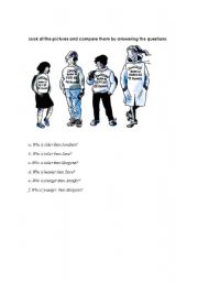 English Worksheets: comparing different people