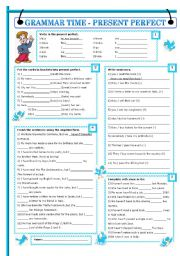 English Worksheet: GRAMMAR TIME - PRESENT PERFECT (with key editable)