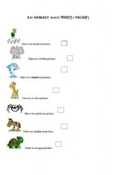 English Worksheets: True and False About Animals