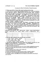 English Worksheet: lesson 16 1st form  how to review your exams : tips