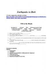 English Worksheet: Earthquake in Haiti - Fill in the Blank