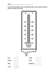 English Worksheets: thermometer