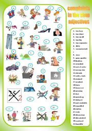 English Worksheet: COMPLAINTS IN THE SHOP - adjectives - matching