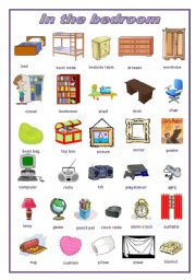 English Worksheet: In the bedroom: pictionary (editable)