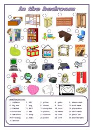 English Worksheet: In the bedroom (editable)