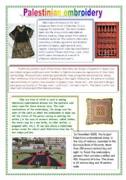 English Worksheets: What do you know about Palestine? part3 - Palestinian embroidery