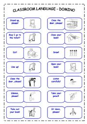 English Worksheet: Classroom Language Domino