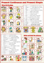 English Worksheet: Present Continuous and Present Simple