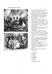 English Worksheet: American Indian Civics Lesson