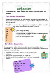 Conjunctions: types and exercises