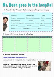 English Worksheet: Mr Bean goes to the hospital - video session (8:25)
