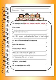 English Worksheet: ASKING QUESTIONS USING: HOW LONG, HOW FAR, HOW TALL...