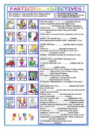 English Worksheets: PARTICIPAL ADJECTIVES