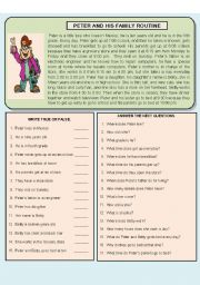 English Worksheets: PETER AND FAMILY DAILY ROUTINE