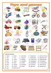 English Worksheets: Toys and games (editable)