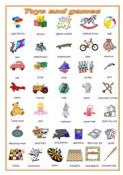 English Worksheet: Toys and games, a pictionary (editable)
