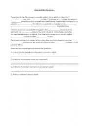 English Worksheet: Continents and Oceans