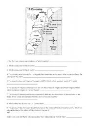 English worksheets: the 13 colonies